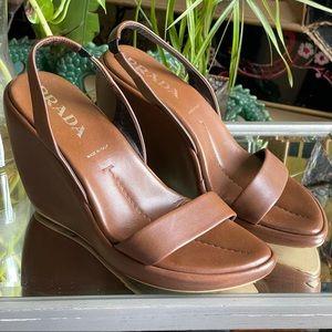 Prada Brown Leather Slingback Wedge  Sandals  38.5